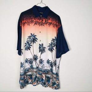 Mens  Pierre Cardin Hawaiian Dress Shirt Size L
